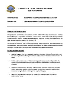 Job Description For Recreation And Facilities Services Manager